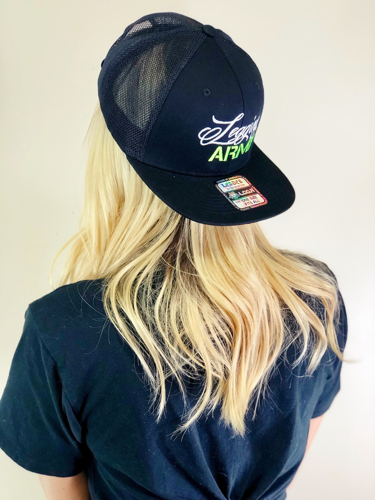 Official Legging Army Hat- Flat Bill With Mesh- Green And White