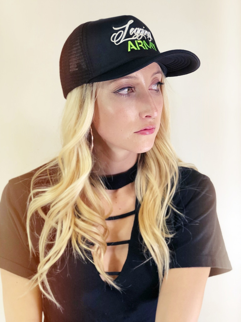 Official Legging Army Trucker Hat- Green And White