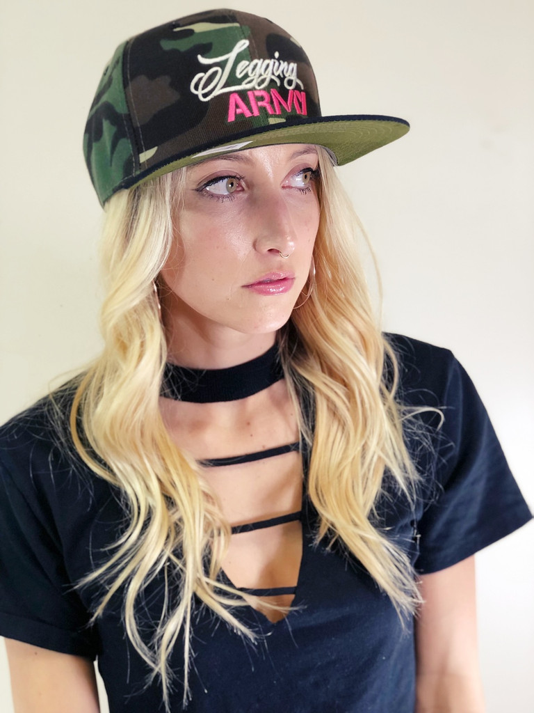 Official Legging Army Camo Hat- Pink And White