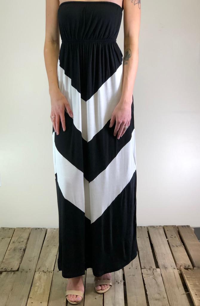 Chevron Dress- Black And White
