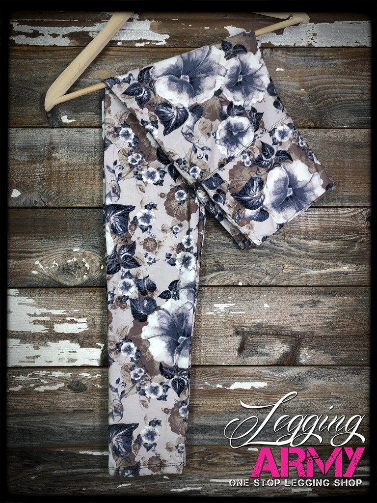 """Yoga 5"""" Waistband- (Plus Size): Faded Florals"""