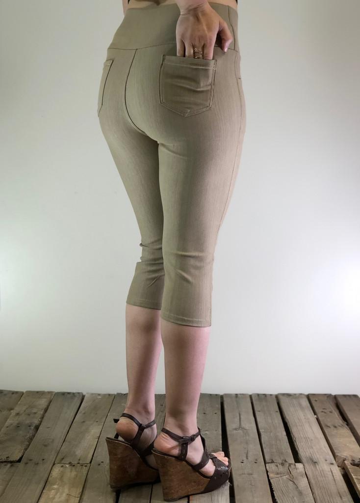 Plus Size Capri Stretchy Jeggings- Khaki