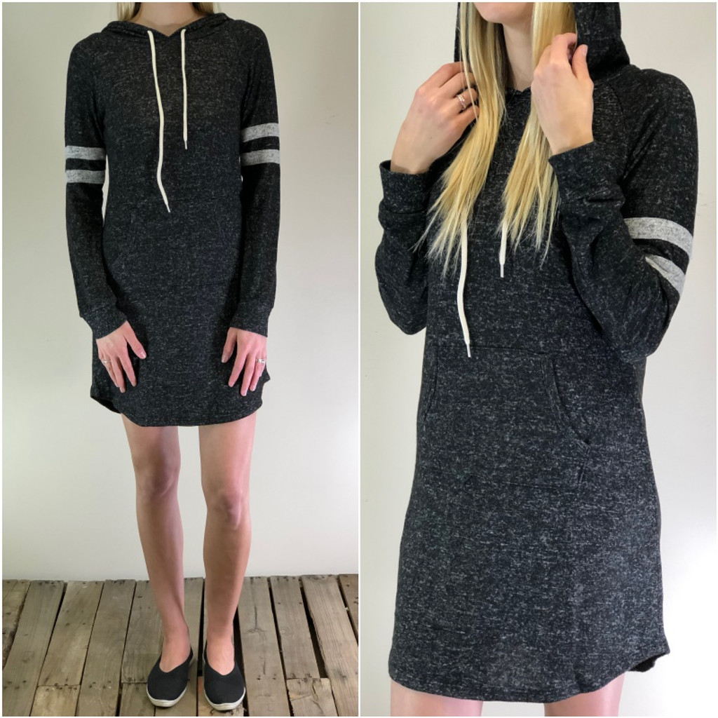 Striped Pullover Hoodie Dress- Black