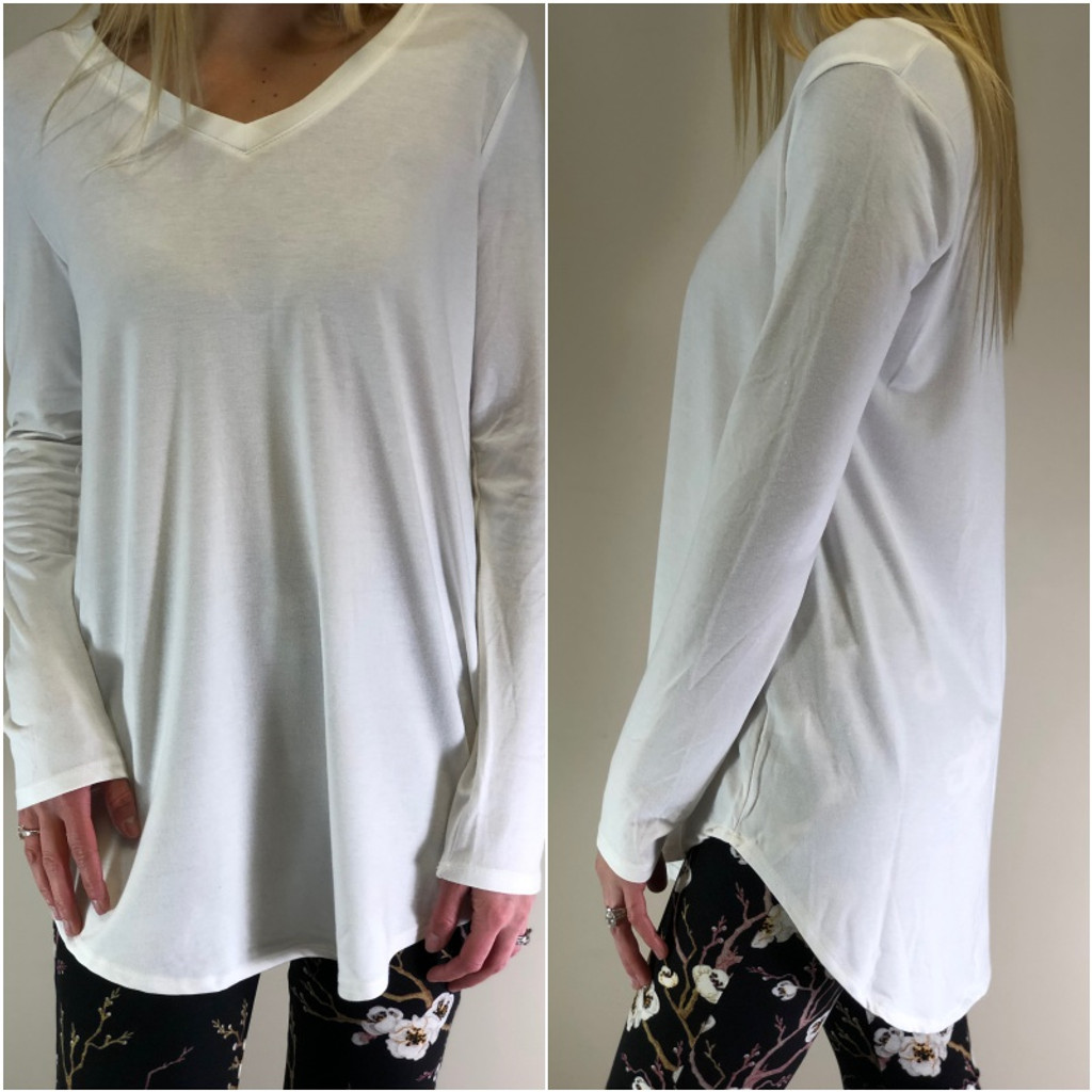 Long Sleeve V-Neck- Ivory
