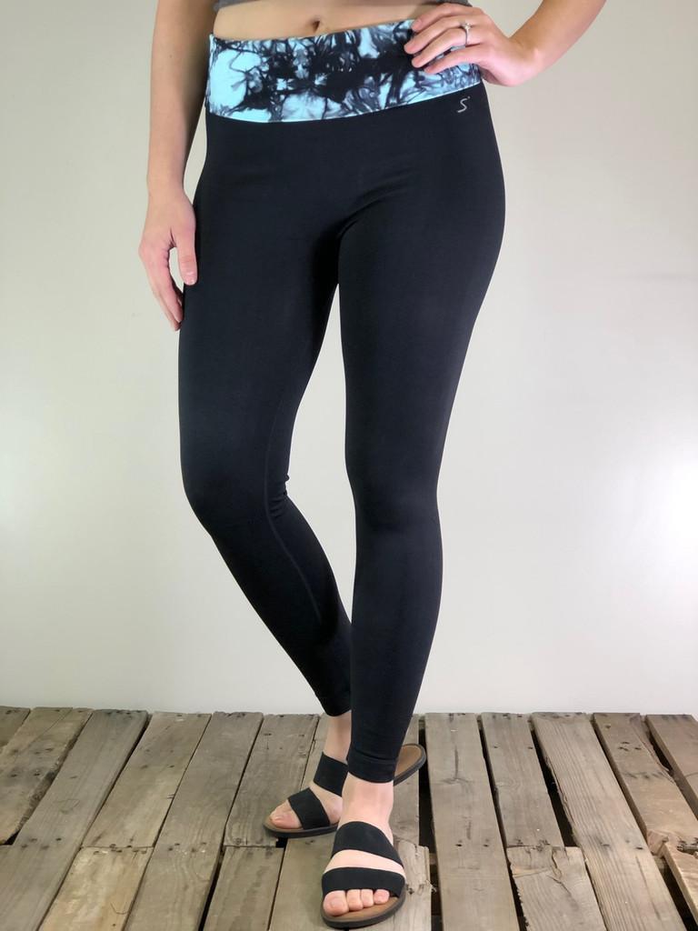 Tie Dye Yoga Pants- Black And Mint