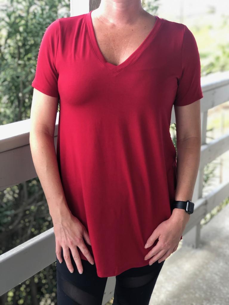 Plus Size Short Sleeve V-Neck- Dark Red