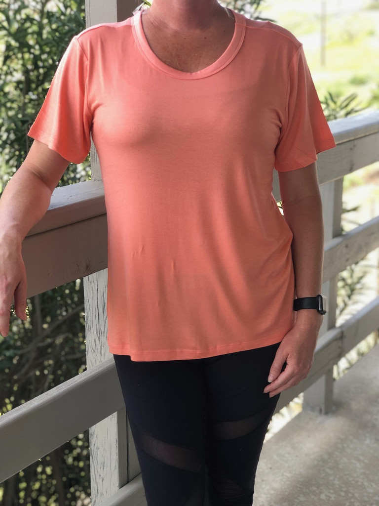 Short Sleeve Scoop Neck- Dusty Coral