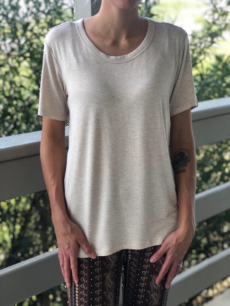 Short Sleeve Scoop Neck- Beige
