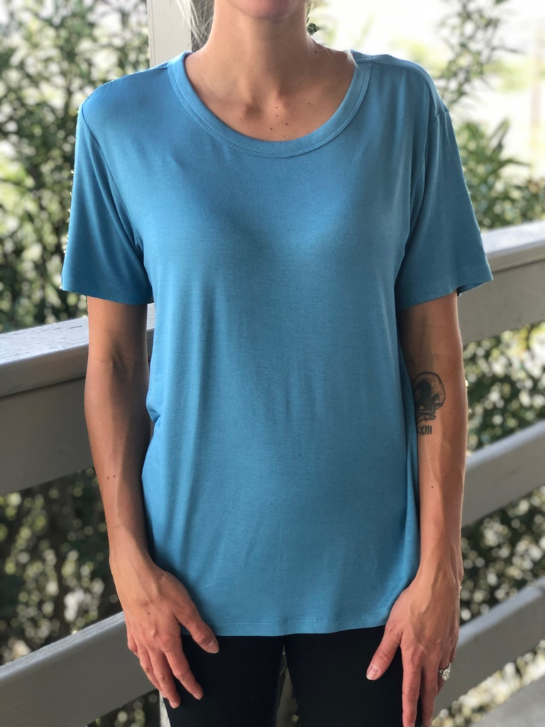 Short Sleeve Scoop Neck- Ocean Blue
