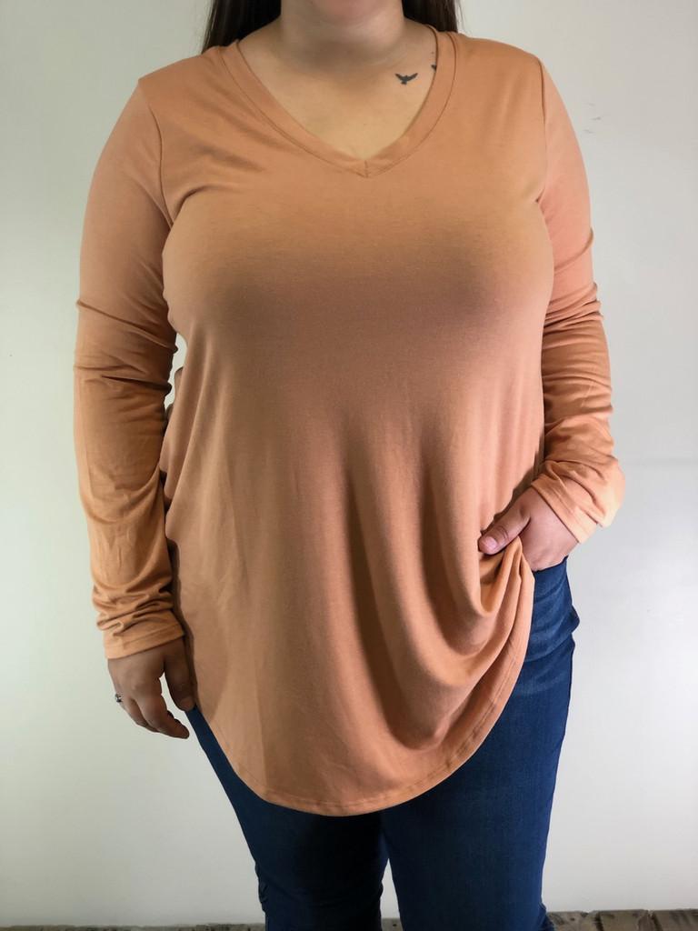 Plus Size Long Sleeve V-Neck- Camel