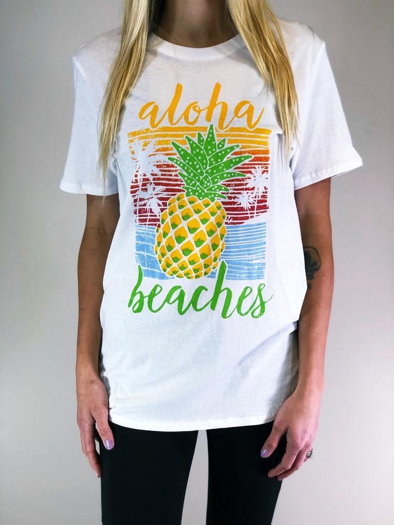 Short Sleeve Shirt- Aloha Beaches - Ivory
