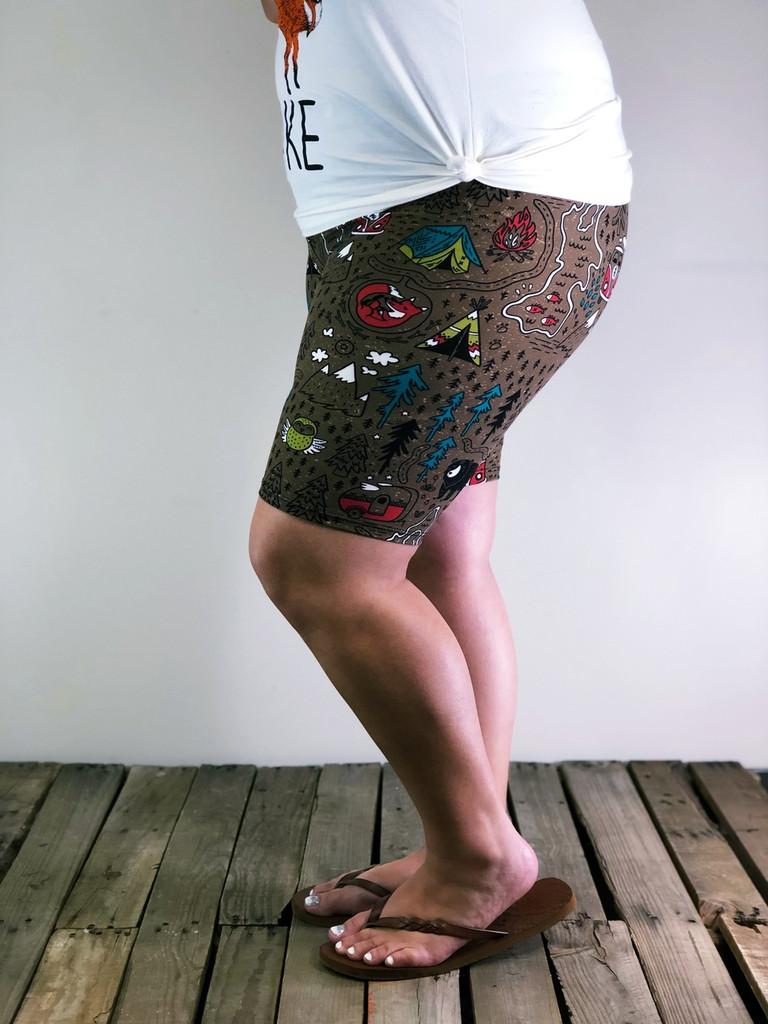 Plus Size Bike Shorts- Happy Camper