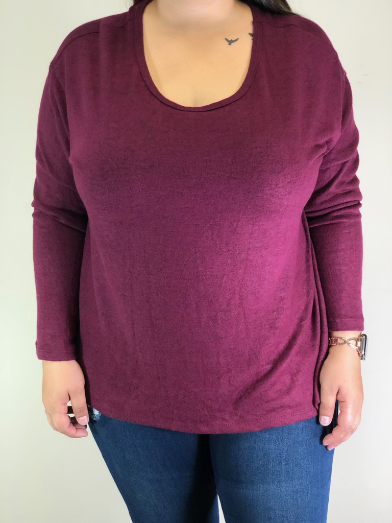 Plus Size High Low Long Sleeve- Burgundy