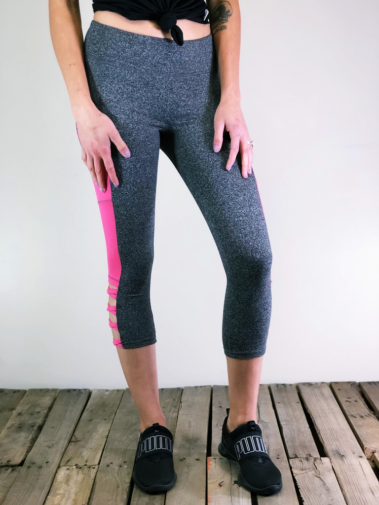 Capri Activewear With Pocket- Grey And Pink