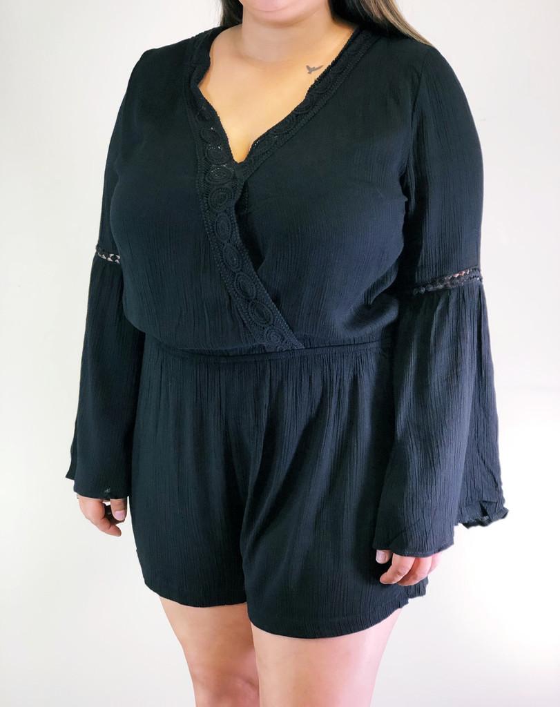 Plus Size Long Sleeve Romper- Black