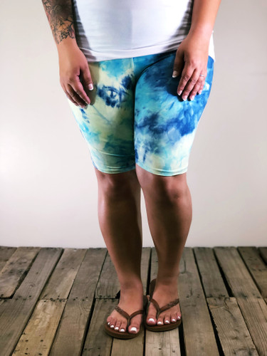 Plus Size Bike Shorts- Ocean Breeze