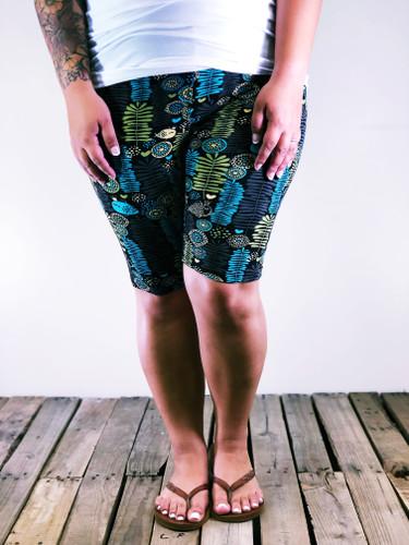 Plus Size Bike Shorts- Grandmas Wallpaper