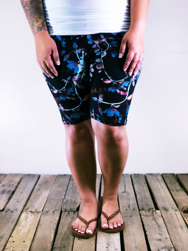Plus Size Bike Shorts- Colorful Eucalyptus