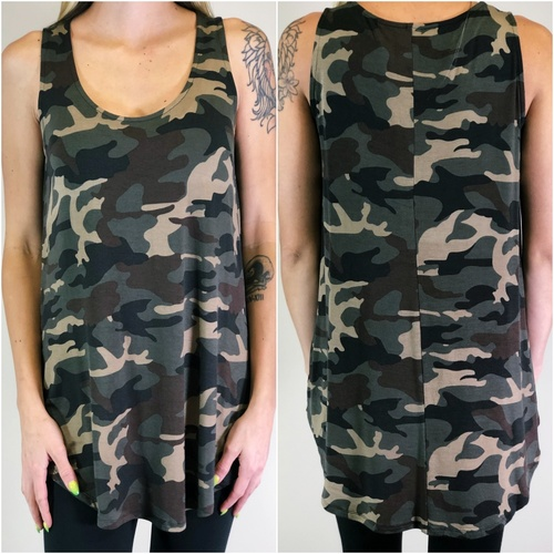 Tank Top- Dark Camouflage
