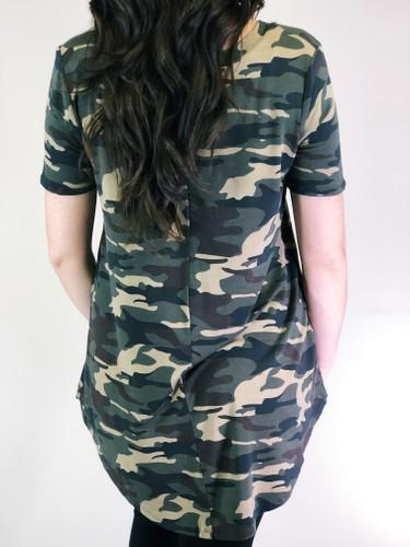 Short Sleeve V-neck- Dark Camouflage