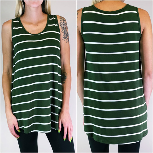 Stripe Tank Top- Army Green