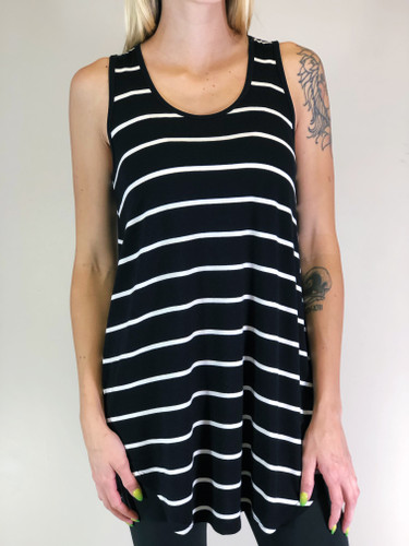 Stripe Tank Top- Black
