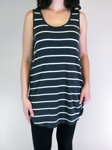 Stripe Tank Top- Charcoal