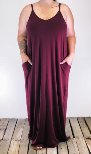 Plus Size Dress- Burgundy