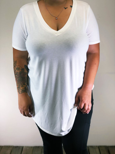 Plus Size Short Sleeve V-Neck- Ivory