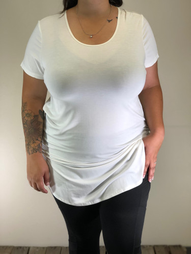 Plus Size Short Sleeve Top- Ivory