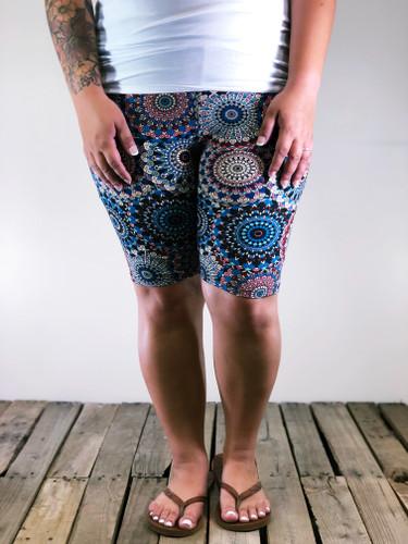 Plus Size Bike Shorts- Dandelion Doilies