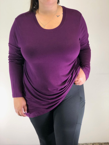 Plus Size Long Sleeve Round Neck- Plum