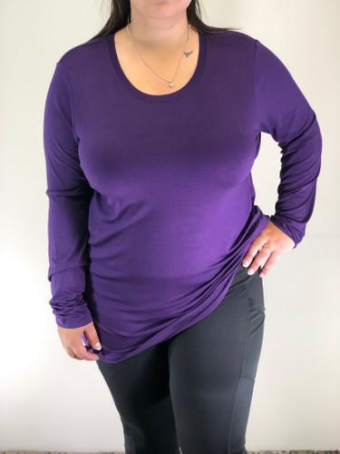 Plus Size Long Sleeve Round Neck- Purple