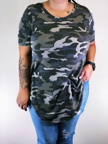 Plus Size Round Neck- Camouflage