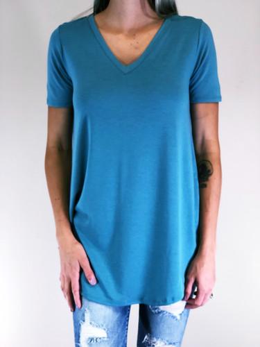 Short Sleeve V-Neck- Dusty Teal