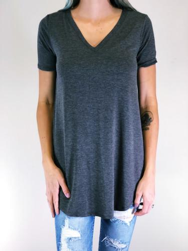 Short Sleeve V-Neck- Charcoal