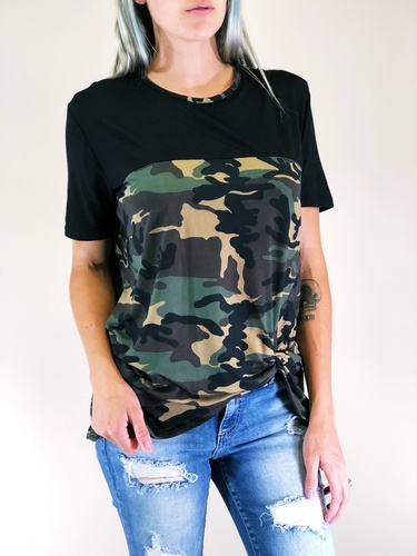 Plus Size- Camouflage And Black Top