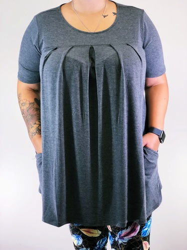 Plus Size Pleated Top- Charcoal