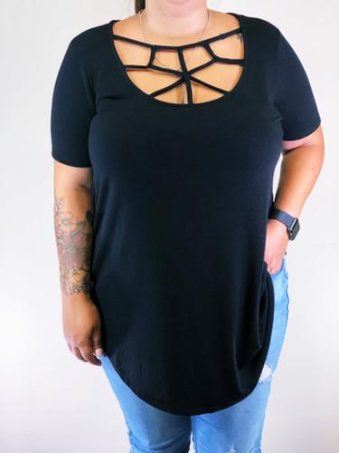 Plus Size Web Detail Top- Black