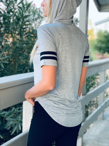 Short Sleeve Top w/ Hood - Game Day Vibes #1 - Grey