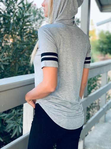 Short Sleeve Top w/ Hood - Heart Shaped Football - Grey