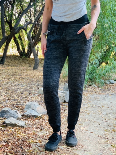 Fur Lined Sweatpants- Black