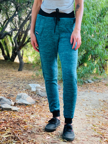 Fur Lined Sweatpants- Turquoise