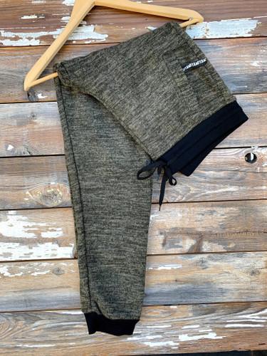 Plus Size Fur Lined Sweatpants-Olive