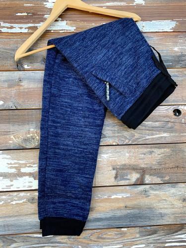 Plus Size Fur Lined Sweatpants- Navy
