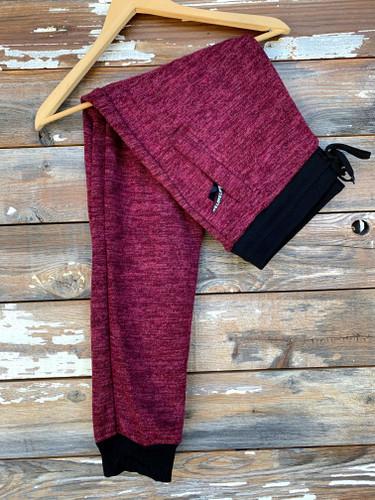 Plus Size Fur Lined Sweatpants- Burgundy
