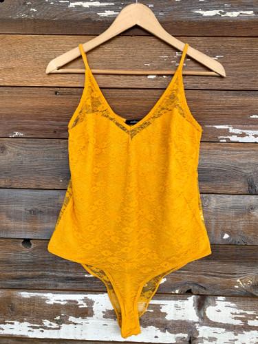 Plus Size Lace Bodysuit- Mustard