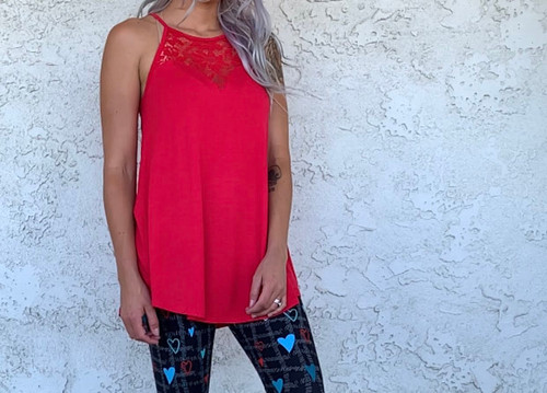 Sleeveless Lace Halter- Red