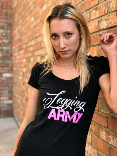 Official Legging Army T-Shirt- White Pine- Black