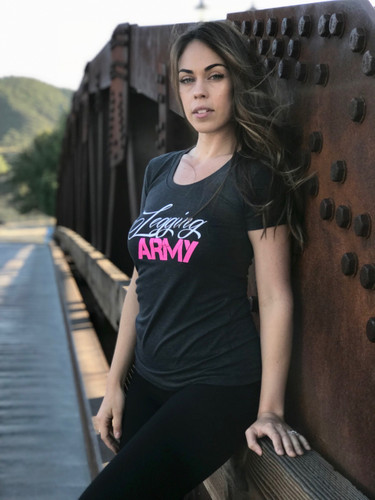 Official Legging Army T-Shirt- White Pine- Charcoal